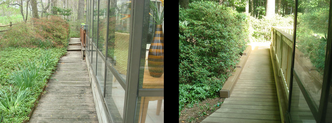 before and after walkway