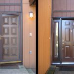 brown door before and after