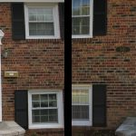 white door before and after brick house