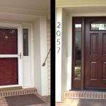 brown door before and after beige house